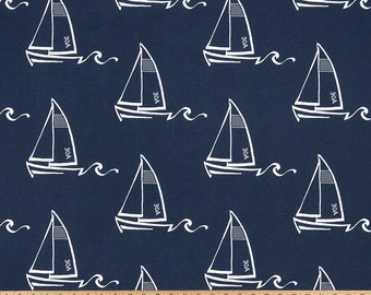 Seaton Sailboat Nautical Navy Blue Fabric by the yard and fat quarters