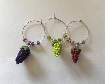 Grape wine glass charms