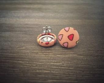 Triangle Earrings. Apricot Earrings. Handmade Earrings. Fabric Covered Earrings. Gift For Her. Gift Under 20. Stud Earring. Clip On Earring.