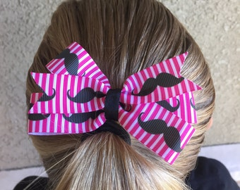 Pink and Black Mustache Ribbon Hair bow