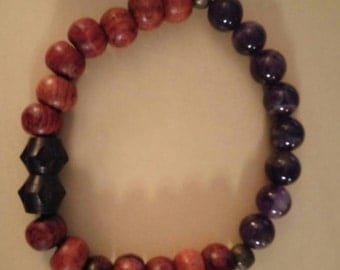 Rosewood and Amethyst Stone, Reiki infused bracelet.