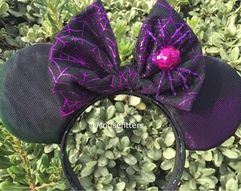 Halloween Spider Web Mouse Ears, Colors Change from Purple to Green When Moved
