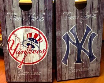 Custom Made Cornhole Bean Bag Toss boards  New York Yankees Free Bags !!