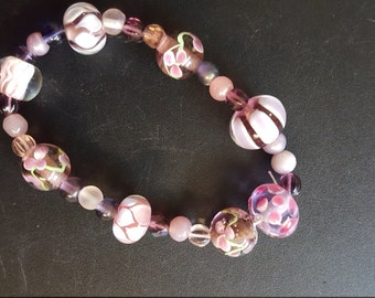 glass beads pink stretch bracelet