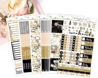 Glam New Year Planner Sticker Kit / Planner stickers / Stickers /  Vertical / New Year