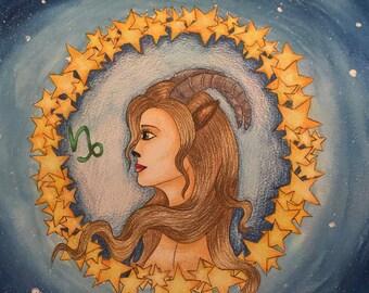 Fantasy painting: zodiac capricorn