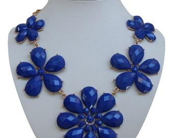 Dark blue Bib necklace, statement necklace,  Blue bib necklace, blue statement necklace, necklace with flowers, modern necklace