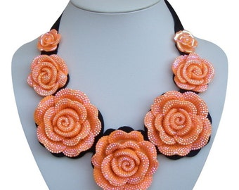 Orange Bib necklace,ribbon, statement necklace,Short necklace,orange necklace,modern necklace, Gift for mother, birthday gift