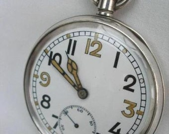 Swiss Militery Sterling Silver Pocket Watch