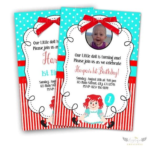 Raggedy Ann, Doll Birthday Invitations & Blank Digital Thank You Card to match