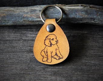 Puppy - genuine leather keychain