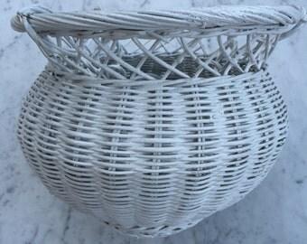 Vintage White wicker hanging basket