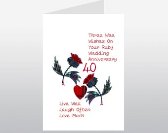 Scottish Ruby Wedding Anniversary Card Thistle WWWE28