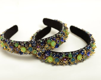 Beaded headband  Baroque beaded headband Crystal beaded headband Beaded hair accessory Beaded headpiece