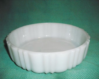 Vintage Milk Glass Serving Bowl with Decorative Patterns