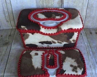 Western cowhide and badana baby wipe case set, flip top, diaper bag, baby shower gift, wipe case, boutique style, hospital gift, home decor
