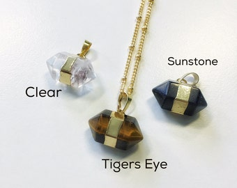 Faceted Navy Sunstone Necklace