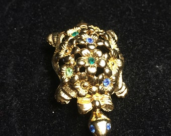 Vintage Signed Avon 1970 Gold Tone Turtle  with  Multicolor Stones