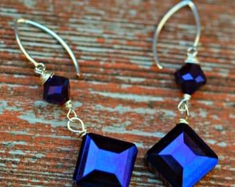 Purple/Blue AB finish crystal earrings