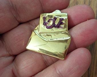 VINTAGE very nice Love Letter Envelope  Pendant Brooch   /zm1