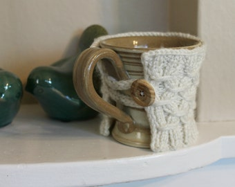 Knitted coffee cozy, tea cozy, coffee sleeve, mug warmer, wood button, FREE SHIPPING