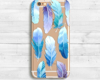 Feather Case, iPhone SE Case, iPhone 6s Case, 6s plus iPhone 7 Case, iPad Mini iPad Air Samaung Galaxy S6, S7 Clear Case, Watercolor Case