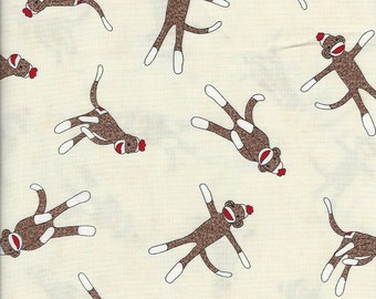 Sock Monkey on natural, Moda fabrics