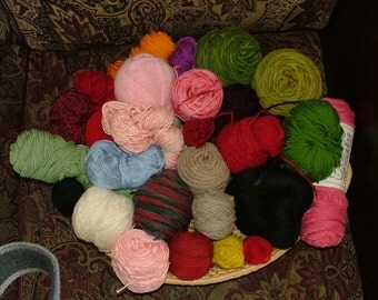 Mystery Grab Bag, 3 lbs, Mostly Worsted Weight, Some Hand Dyed, Assorted Yardage, Assorted Fibers Destash Crochet Knit - Box 3