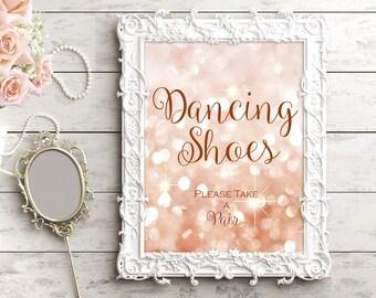 Printable Dancing Shoes wedding sign. Gold and blush. Bokeh sign, glitter, lights wedding digital sign. Instant download wedding decor