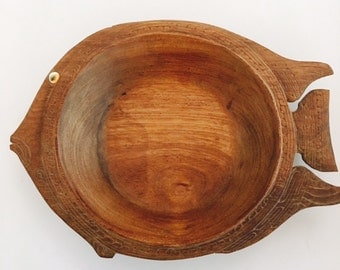 Vintage Wood Fish bowl - Large
