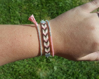 Pink and brown stackable bracelet