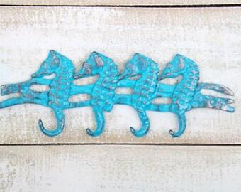 TURQUOISE  Seahorse Wall Hook  / Nautical / Beach / Coastal /Seahorse Key Rack / Seahorse Decor /Beach House / Coastal / Nautical Decor