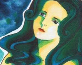 Art print - art print - woman with Moon