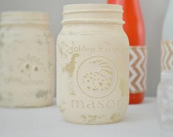 Add On, Single Mason Jar, Rustic Decor, Rustic Mason, Antiqued Mason Jar, Golden Harvest