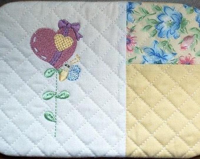 Flower Hearts Mug Rugs ( 10- 5x7 - Machine Embroidery Designs from ATW ) XYZ16M