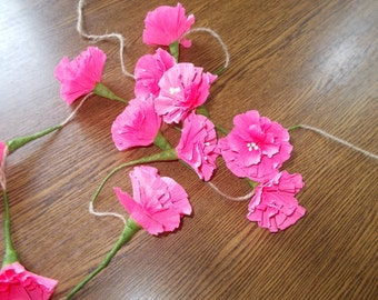 Pink flower garland, paper garland, wedding garland, floral garland, shoot backdrop, crepe paper flower, vintage wedding, rustic wedding