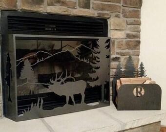 wood fireplace screens. 14 gauge powder coated fireplace screen with matching wood holder Fireplace  Etsy