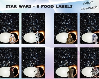 Star wars food labels , Star warsparty, Star wars birthday invitation, ,instant download