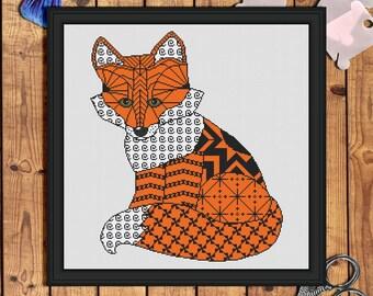 Fox Counted Cross Stitch Pattern pdf-fox cross stitch pattern-cross stitch fox-zentangle cross stitch-animals cross stitch-fox embroidery