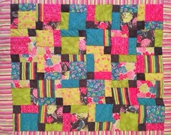 Bright baby girl quilt