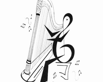 Harp Player Print