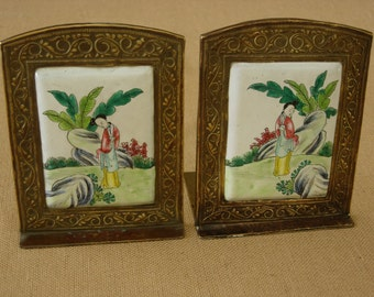 Chinese Enamel and Brass Bookends