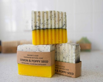 Handmade natural Soap lemon and poppy seed