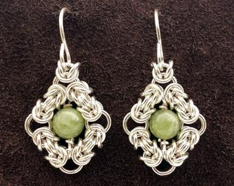 Byzantine Eye Chainmail Earrings - Sterling Silver with Grossular Garnet