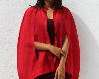 Handwoven red cape