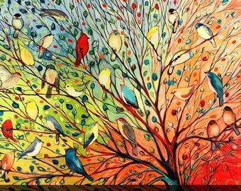 "Jennifer Lommers ""27 Birds"" Giclee Print Canvas Wall Art Set"