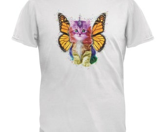 Rainbow Butterfly Unicorn Kitten White Adult T-Shirt