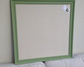 Large green pin board. Green notice board. Green bulletin board. Fabric memo board. Green message board. Linen cork board. Linen pin board.