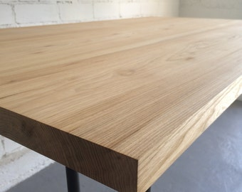 Natural wooden elm table (office, dining, work or anything you can think of). Natural oil finished. Simple design!