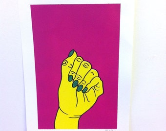 Yellow Hand 2 A4 Original Painting, Signed and Editioned